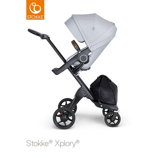 ベビーカー Stokke Xplory V6(ストッケ エクスプローリー) ブラックシャーシ ブラウンハンドル×クラシックシート グレーメラーンジ