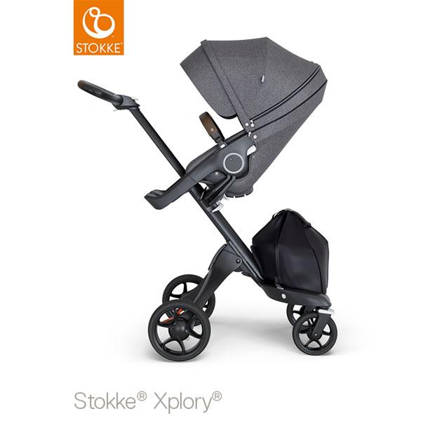 ベビーカー Stokke Xplory V6(ストッケ エクスプローリー) ブラックシャーシ ブラウンハンドル×クラシックシート ブラックメラーンジ