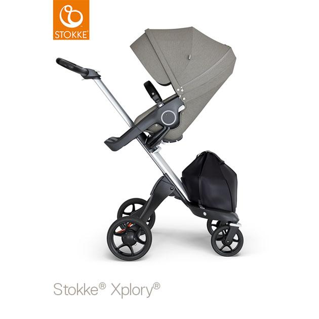 ベビーカー Stokke Xplory V6(ストッケ エクスプローリー) シルバーシャーシ ブラックハンドル×ブラッシュシート グレー