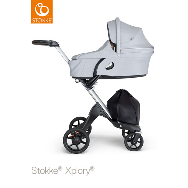 ベビーカー Stokke Xplory V6(ストッケ エクスプローリー) キャリーコットとシート グレーメラーンジ×シルバーシャーシ ブラウンハンドル