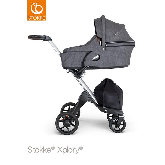 ベビーカー Stokke Xplory V6(ストッケ エクスプローリー) キャリーコットとシート ブラックメラーンジ×シルバーシャーシ ブラウンハンドル