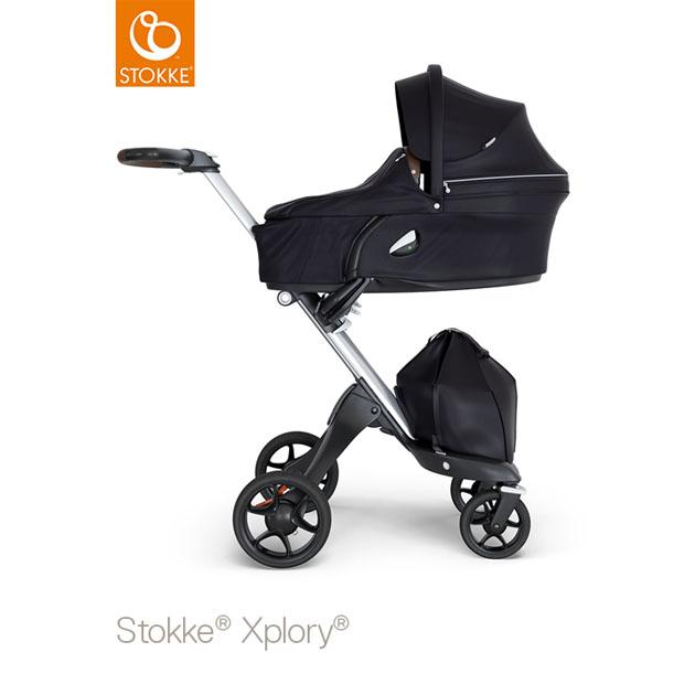 ベビーカー Stokke Xplory V6(ストッケ エクスプローリー) キャリーコットとシート ブラック×シルバーシャーシ ブラウンハンドル