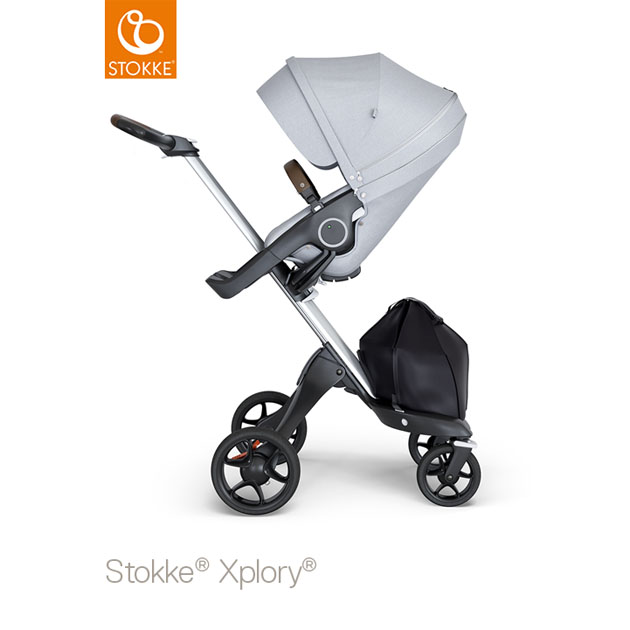 ベビーカー Stokke Xplory V6(ストッケ エクスプローリー) シルバーシャーシ ブラウンハンドル×クラシックシート グレーメラーンジ