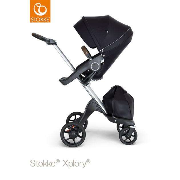 ベビーカー Stokke Xplory V6(ストッケ エクスプローリー) シルバーシャーシ ブラウンハンドル×クラシックシート ブラック