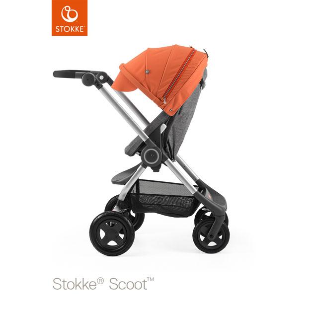 ベビーカー Stokke Scoot(ストッケ スクート2) ブラックメラーンジキット+キャノピー オレンジ