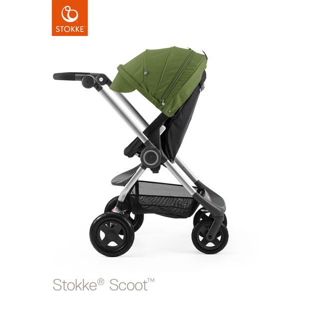 ベビーカー Stokke Scoot(ストッケ スクート2) ブラックキット+キャノピー グリーン