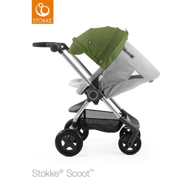ベビーカー Stokke Scoot(ストッケ スクート2) グレーメラーンジキット+キャノピー グリーン