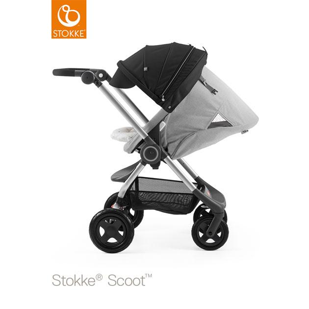 ベビーカー Stokke Scoot(ストッケ スクート2) グレーメラーンジキット+キャノピー ブラック