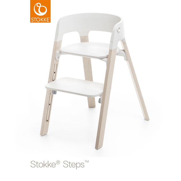 ベビーチェア Stokke Steps Chair(ストッケ ステップス チェア) レッグ ビーチ ホワイトウォッシュ×シート ホワイト