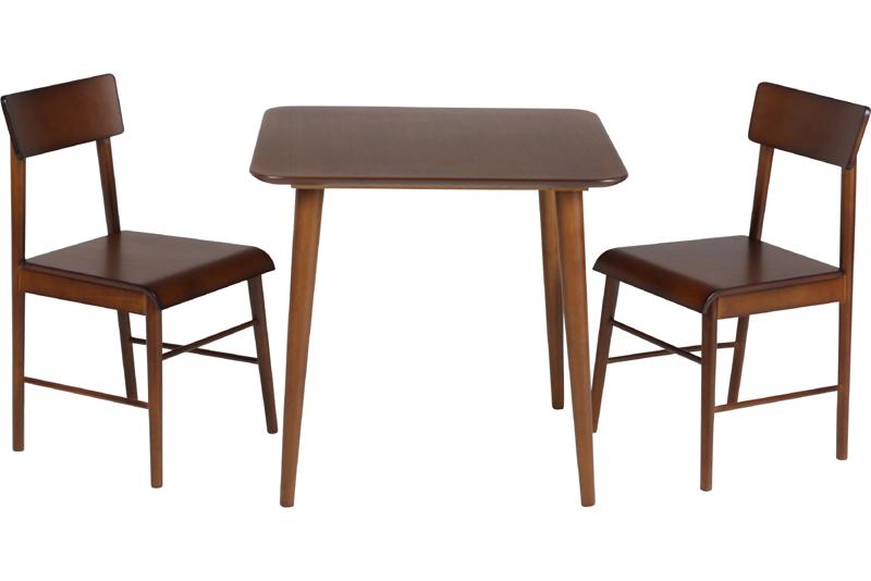 送料無料 ダイニング3点セット 食卓3点セット ダイニングテーブル3点セット 天然木 チェア完成品 2人暮し 正方形 テーブル カフェ cafe ナチュラル 北欧 モダン シンプル ★エクレアダイニング3点セット