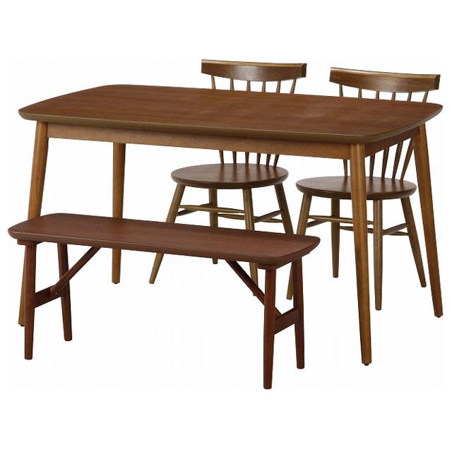木製 ダイニングテーブル 4点セット 4人掛け ベンチスタイル ダイニングセット テーブル 130×75 チェア ベンチ ウォールナット ブラウン★フルール ダイニング4点セット【02P03Dec16】