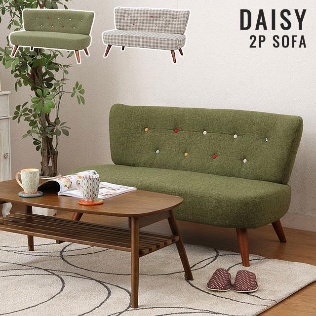 【カラフルなボタンが可愛い】ファブリック 2Pソファ 二人掛けソファ 2人用 2P 椅子 sofa ソファー ファブリックソファ リビングソファ ★ソファ2P デイジー(グリーン)【02P03Dec16】