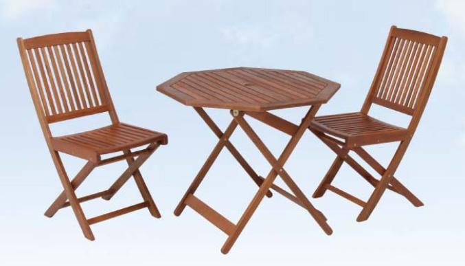 2人用ガーデンダイニング3点セット【ベランダやお庭で大活躍】 ガーデン テーブル セット 収納も便利!折りたためるテーブル&チェア 2人用 カントリー 庭 ウッドデッキ ★ガーデンセット(八角)【02P03Dec16】