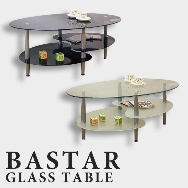 【送料無料】ガラスリビングテーブル 棚付き デザインテーブル ローテーブル オーバルテーブル 楕円 スタイリッシュ丸テーブル ガラス製 おしゃれ★バスターII 109ガラステーブル(ブラック/ホワイト)