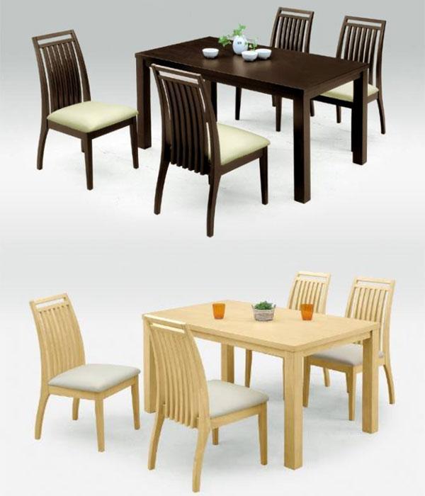ダイニングテーブルの重量感と椅子の軽やかさは相性抜群!天板厚み35mm 幅135cm 奥行き80cm ファミリーサイズのダイニング5点セット ナチュラル/ダークブラウン2色から選べます♪アルファ(alpha)ダイニング5点セット【02P03Dec16】