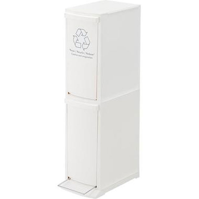 2段ゴミ箱 分別 便利 ホワイト ごみばこ キッチン用 スライド式 隙間収納 収納 おしゃれ ダストボックス BOX スリム★LFS-932WH
