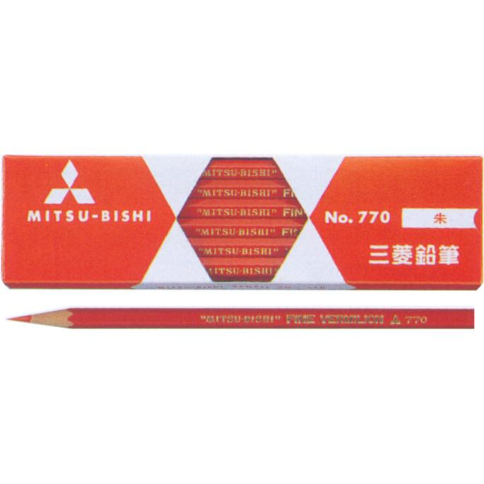 メール便対応 6ダースまで 三菱鉛筆 赤鉛筆 K770 1ダース 高級 朱通し6軸 日本製 770