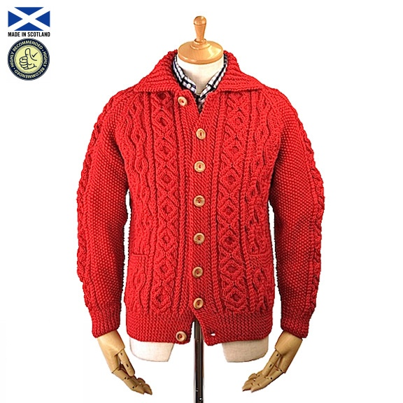 STRATHTAY ストラステイ 3A LUMBER CARDIGAN HOLLY(RED) ランバー カーディガン スコットランド製
