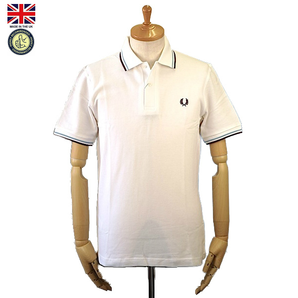 Fred Perry フレッド・ペリー M12 Men's Twin Tipped Fred Perry Polo Shirt 120 White/Ice/Maroon メンズ ツイン ティップ フレッドペリー ポロシャツ 半袖ポロシャツ 英国製 2019年 春夏入荷商品