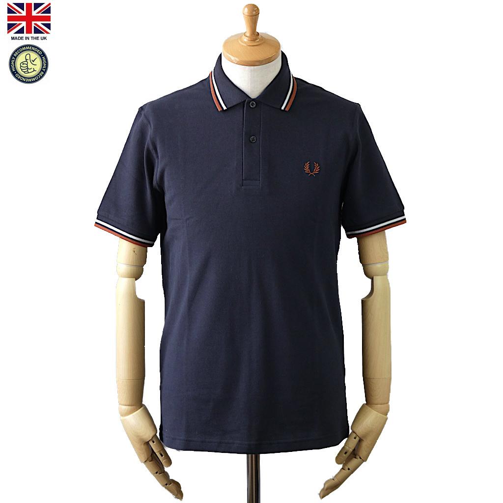 Fred Perry フレッド・ペリー M12 Men's Twin Tipped Fred Perry Polo Shirt C11 Navy/Ecru メンズ ツイン ティップ フレッドペリー ポロシャツ 半袖ポロシャツ 英国製 2019年 春夏入荷商品