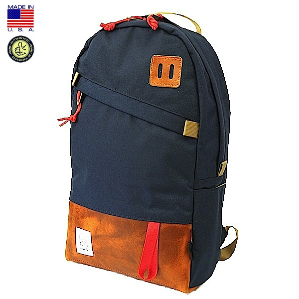 TOPO DESIGNS トポ デザイン Day Pack Navy/Leather デイパック ネイビー/クロムエクセル レザー バックパック リュックサック アメリカ製