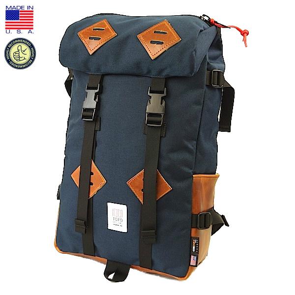 TOPO DESIGNS トポ デザイン KLETTERSACK Navy/Leather クレッターサック ネイビー/クロムエクセル レザー バックパック リュックサック アメリカ製