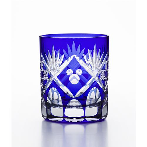 日本製 アデリア 江戸切子グラス  籠目(瑠璃) グラス ミッキー模様 280ml  R-312