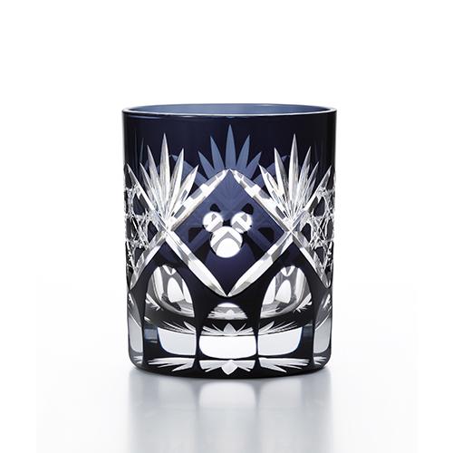 日本製 アデリア 江戸切子グラス  籠目(黒) グラス ミッキー模様 280ml  R-313