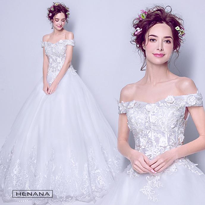 オフショルダー ウエディングドレス 二次会ドレスウエディング エンパイアライン 二次会 花嫁 ドレス 花嫁ドレス ロングドレス 発表会 パーティー 編み上げタイプ 姫系ドレス 豪華なドレス 162442