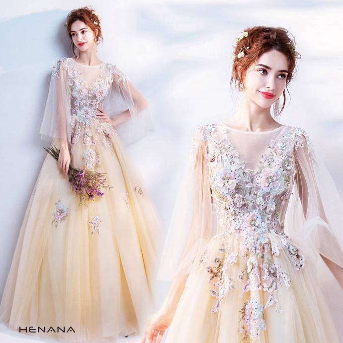 高品質 カラードレス 2点セット パニエ付き ウエディングドレス ロングドレス パーティードレス 豪華 花嫁 礼服 結婚式 披露宴 謝恩会 二次会ドレス 162449