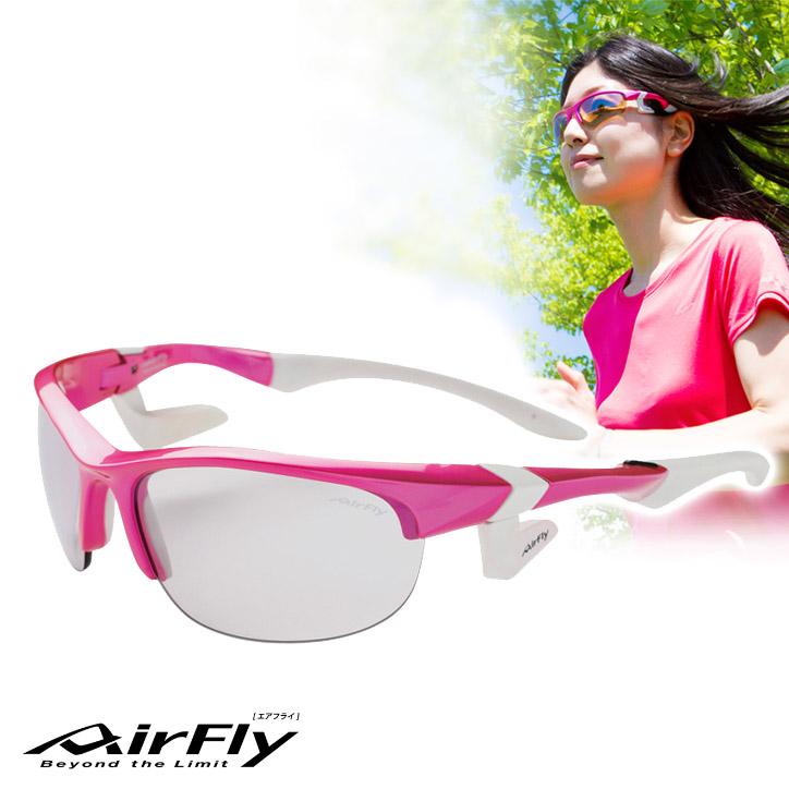 鼻パッドの無い サングラス エアフライ レディース AirFly AF-102 C-6S[ジョギング ランニング ゴルフ スポーツサングラス 女性 UV・紫外線対策]