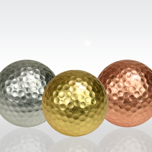 Gold/Silver/Copper Leaf Golf Balls (Pack of 3, one each color, Kanazawa Japan gold leaf)