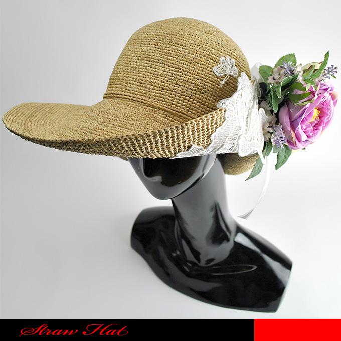 つば広が揺れるサマースタイルを演出した自然素材(ラフィア)を編みこんだお洒落なつば広帽です。☆つば広帽/ラフィア/天然素材/サマーハット/送料無料
