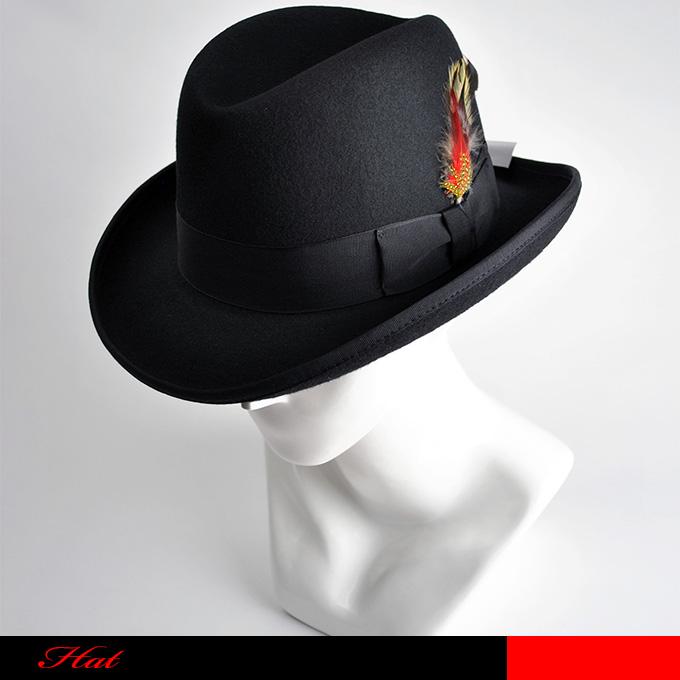 【送料無料】男性の正装帽としてシルクハットに次ぐスタイルで、ダンディーさの中に優しさを含んだシェープのホンブルグハットです。☆ホンブルグ/シルクハット/正装帽/つまみ帽/ブラック/