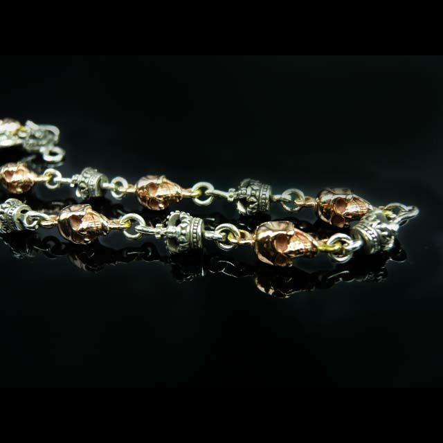 華麗・2色のスカルとクラウンが個性的なシルバーチェーン☆スカルモチーフ/シルバー925/