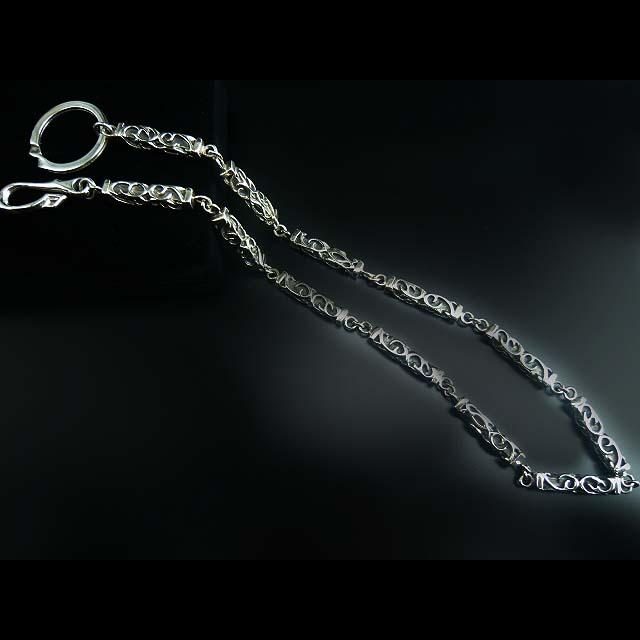 ゴシック調で硬派な正統派のウォレットチェーン☆シルバー・財布・チェーン・送料無料