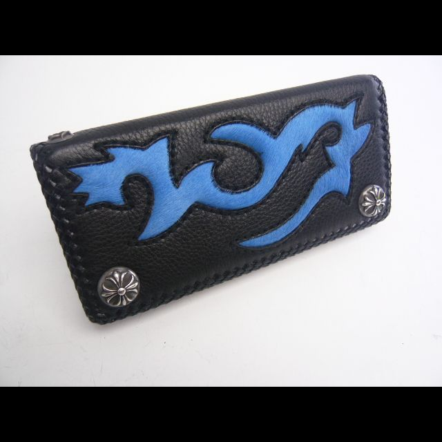 【ハラコ】長財布【ブルー・ブラック】