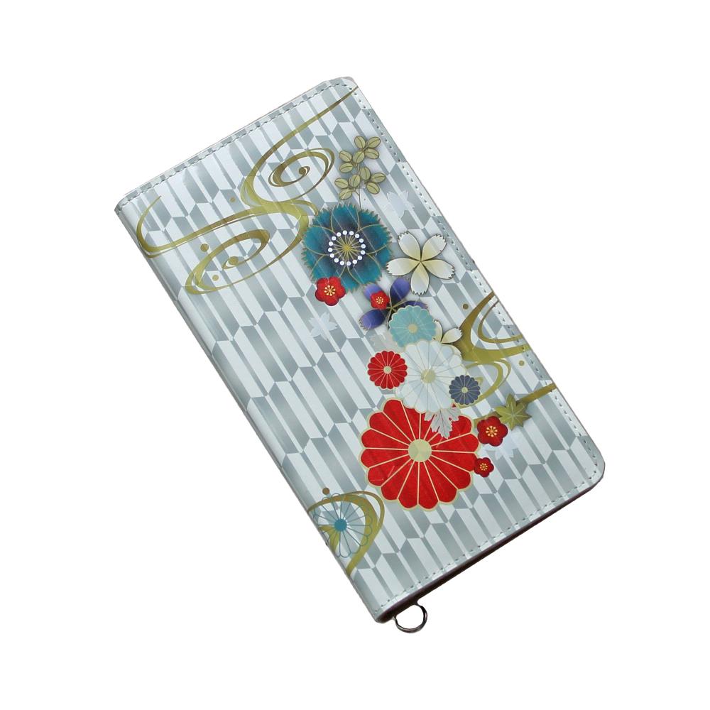 送料無料iPhone XSMax XR X XS 8Plus 6Plus 6sPlus 7Plus 対応牛革スマホケース 手帳型 革 ホワイト 和柄 お花 スマートフォンケース 日本製