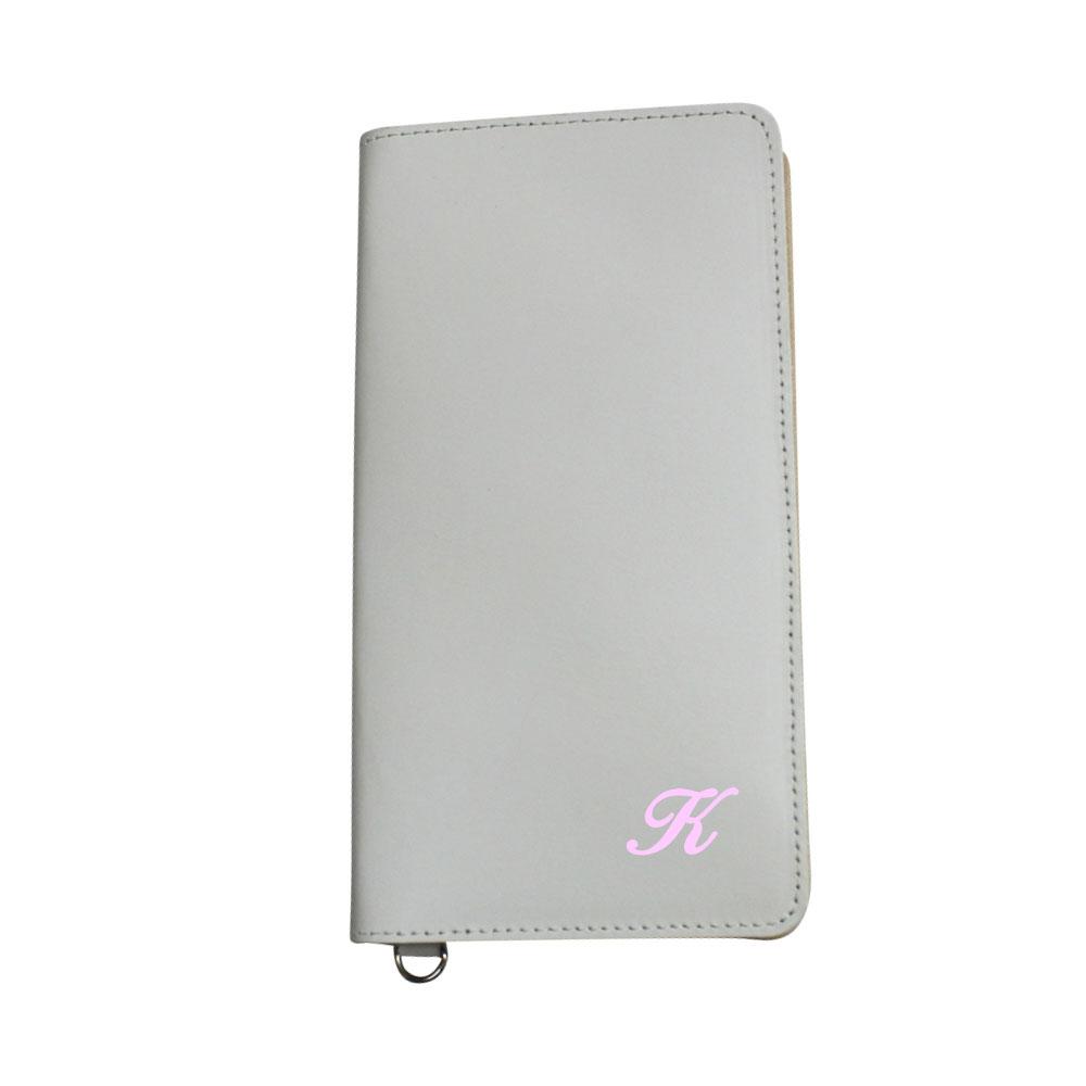 送料無料イニシャル 牛革スマホケース 手帳型 革 ホワイト スマートフォンケース 日本製