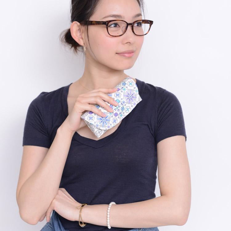 友禅染文库皮革花菱(花菱)花纹江户小花纹眼镜人工眼镜子情况眼镜情况太阳眼镜情况女士礼物礼物