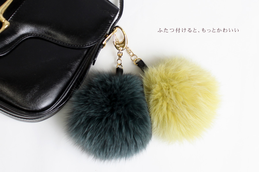 Choose from 20 different colors fox fur strap スマホピアス / strap bonbori Keychain accessories