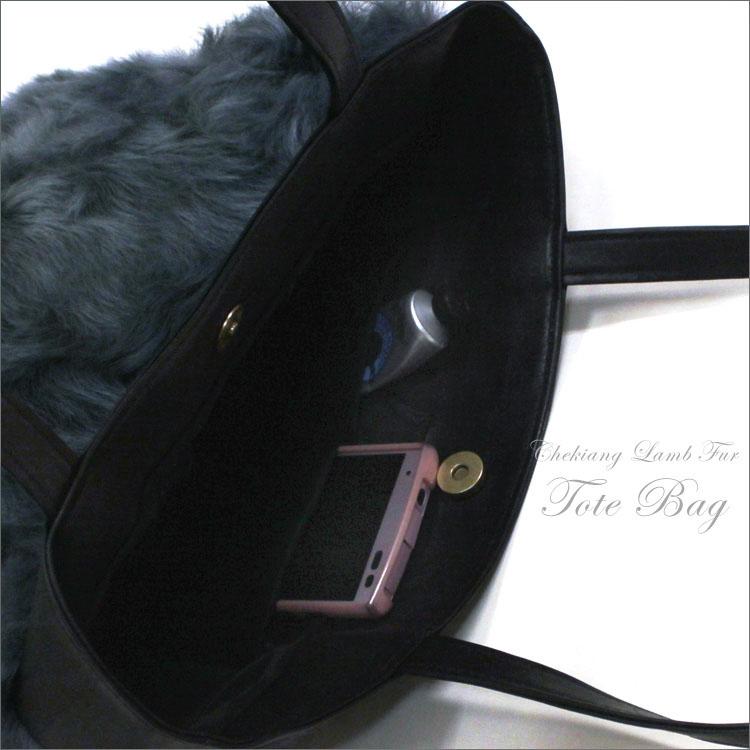 c5464de2d0 リアルファーチキャンラムファートートバッグブルーグレービッグトートトート genuine leather cowhide fur bag fur  gift present Mother s Day made in Japan
