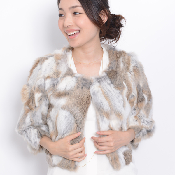 All 12 color 4 size rabbit three-quarter-length fur jacket