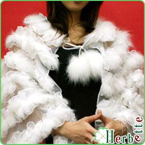 ファーケープ 毛皮 新作製品、世界最高品質人気! 最大2000円引クーポン有 フォックス ファー と オーガンジー の 人気商品 ボーダー プレゼント ケープ 羽織り パーティー レディース 二次会 送料無料 結婚式 ギフト