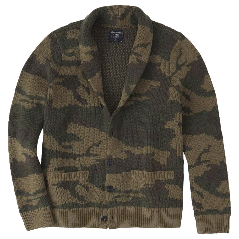 【並行輸入品】アバクロンビー&フィッチ メンズ ショール カーディガン (厚手) Abercrombie&Fitch Shawl Cardigan (オリーブカモフラージュ) 【 セーター 】