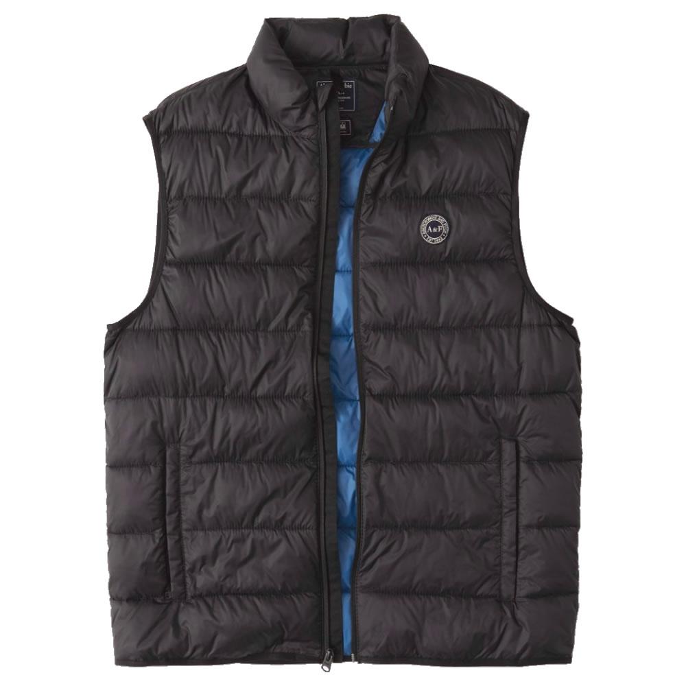 【並行輸入品】アバクロンビー&フィッチ メンズ ベスト ( 中綿 ) Abercrombie&Fitch Lightweight Packable Puffer Vest (ブラック) 【 アウター ジャケット 】