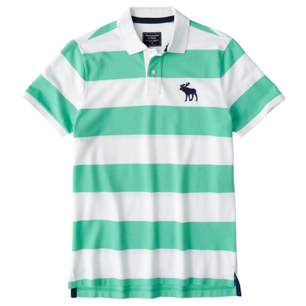 【並行輸入品】【メール便送料無料】アバクロンビー&フィッチ メンズ ポロシャツ ( 半袖 ) Abercrombie&Fitch Exploded Icon Stretch Polo (グリーン) 【 ポロ 】