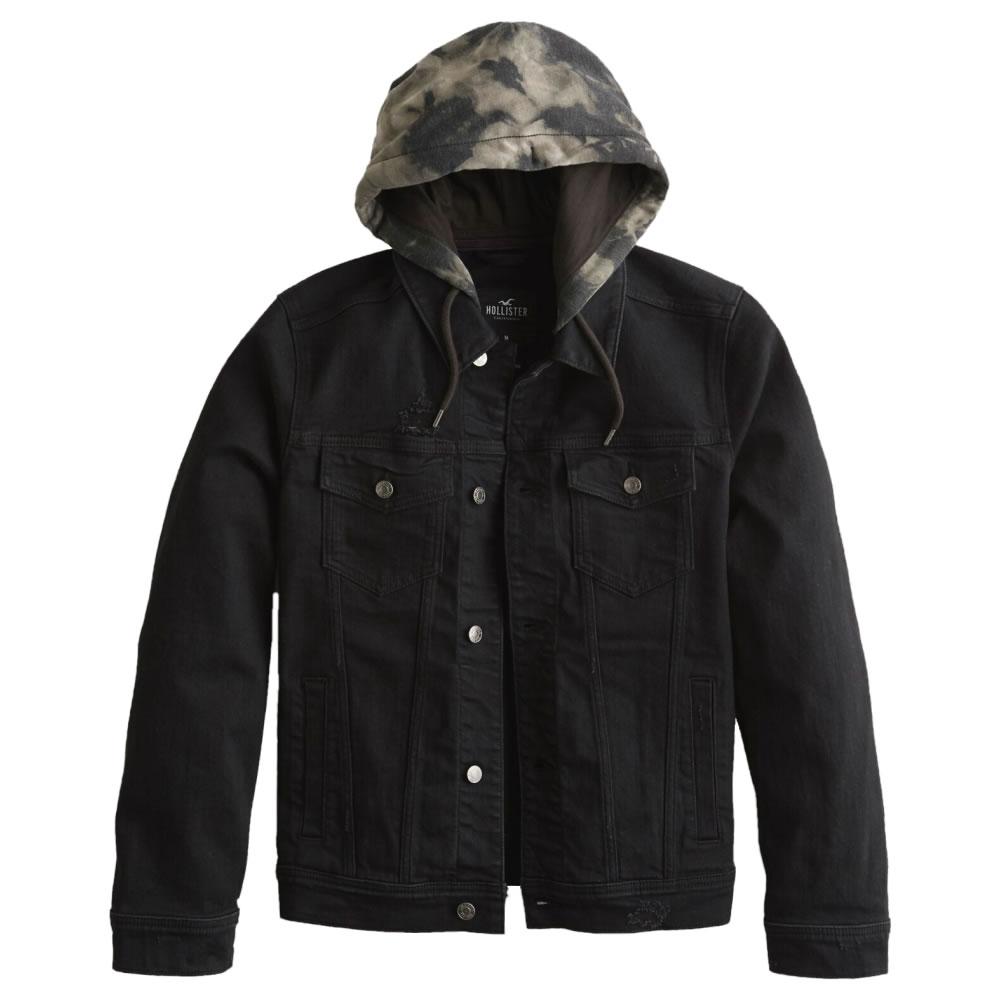 【並行輸入品】ホリスター メンズ ストレッチ デニム ジャケット ( フード付き ) Hollister Stretch Hooded Denim Jacket (ブラック) 【 アウター 】