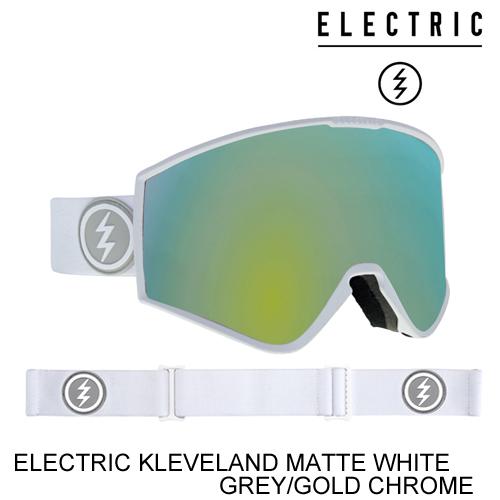 ELECTRIC エレクトリックゴーグル ジャパンフィット KLEVELAND MATTE WHITE GREY/GOLD CHROME スノーボード ゴーグル [セ]