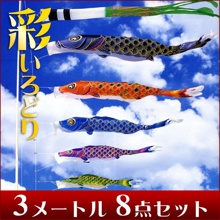 【送料無料】菊模様の鱗が優雅に彩る☆彩 (いろどり)絵柄吹流 3M 8点セット【こいのぼり】